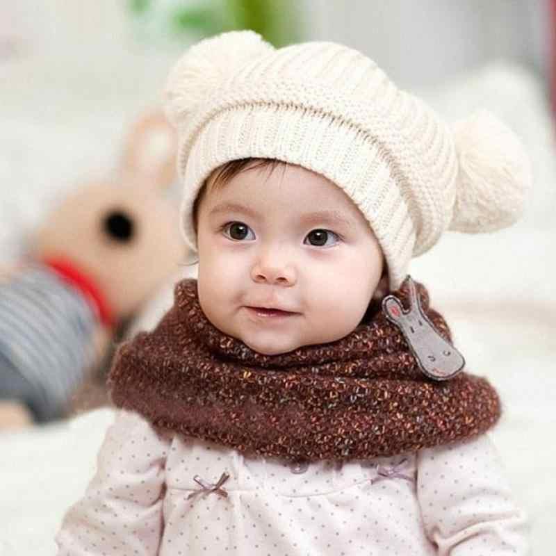 Милая теплая зимняя вязаная шапочка с двумя шариками для маленьких мальчиков и