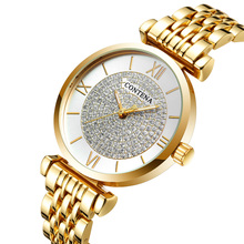 Luxury Women Gold Steel Belt Wrist Watches For Women Quartz Crystal Dress Clock Top Brand Fashion Casual Waterproof Watch Female цена