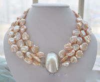 Hot sale new Style >>>>>3strands 19mm BAROQUE pink KESHI REBORN PEARL NECKLACE mabe clasp