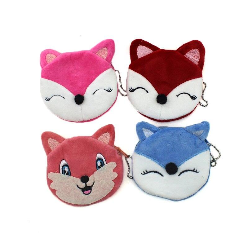 Kawaii Lovely Colorful Fox Plush 10CM Lady Coin Purse & Wallet Pouch Case Bag Girl's Pendant Makeup Storage Bag Pouch Handbag