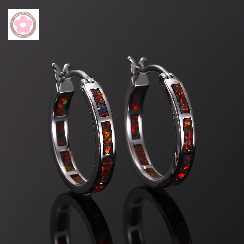 RH0006 boucles d'oreilles classiques en opale de feu pour femmes|opal hoop earrings|hoop earrings for women|hoop earrings - title=
