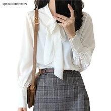 2019 Spring Summer Elegant Lace-up Bow Collar Ladies Office Blouse Tops Women Lantern Sleeve White Chiffon Shirt Long