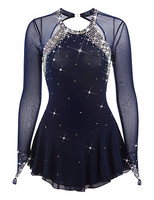 BlueFigure Skating Dress Long Sleeved Ice Skating Skirt Spandex Women's girl's