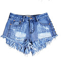 Fashion Brand Vintage Women's Tassel Rivet Ripped Loose High Waisted Short Jeans Punk Sexy Hot Woman Denim Shorts 07012316