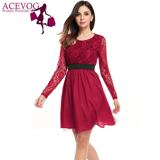 1b278e109c081 ACEVOG Women Floral Lace Dress Spring Autumn O-Neck Long Sleeve Mesh  Patchwork A-