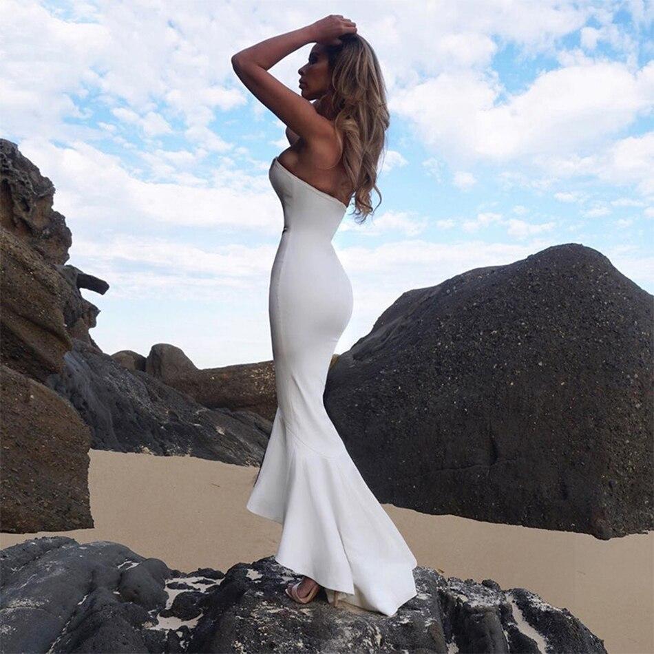 Più Elegante Bianco Perdere Abiti Del Spalline Senza Interi Delle Sexy Fasciatura Celebrità Solido Donne Nuovo Vestito Aderente Partito Dalla Acqua 55Zqg7