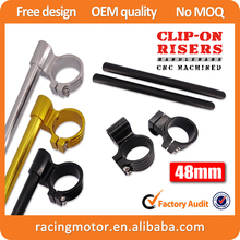 Universal  Motorcycle 48mm Clip-Ons 1″ Riser Handlebars For Suzuki Honda KTM  Most 48mm Fork Tubes