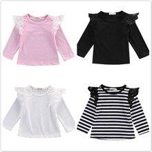 Одежда для новорожденных Одежда для детей и малышей для девочек футболка с длинными рукавами Повседневное в стиле с длинными рукавами, топы, одежда для маленьких девочек на осень и зиму для детей возрастом до 2 лет