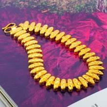 Резной короткий браслет цепочка желтый позолоченный женский