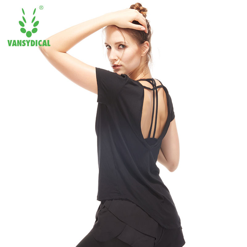 Women Shirt Backless Yoga Short Sleeve  Sports Tops Activewear Sexy Quick Dry Sportswear Plus Size  1