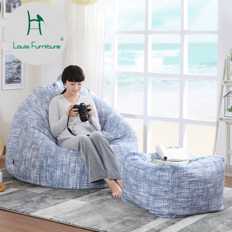 US $400.0 |Louis Fashion Slack Sofa Bag Fabric Creative Modern Simple  Bedroom Comfortable Chair Washable-in Bean Bag Sofas from Furniture on ...