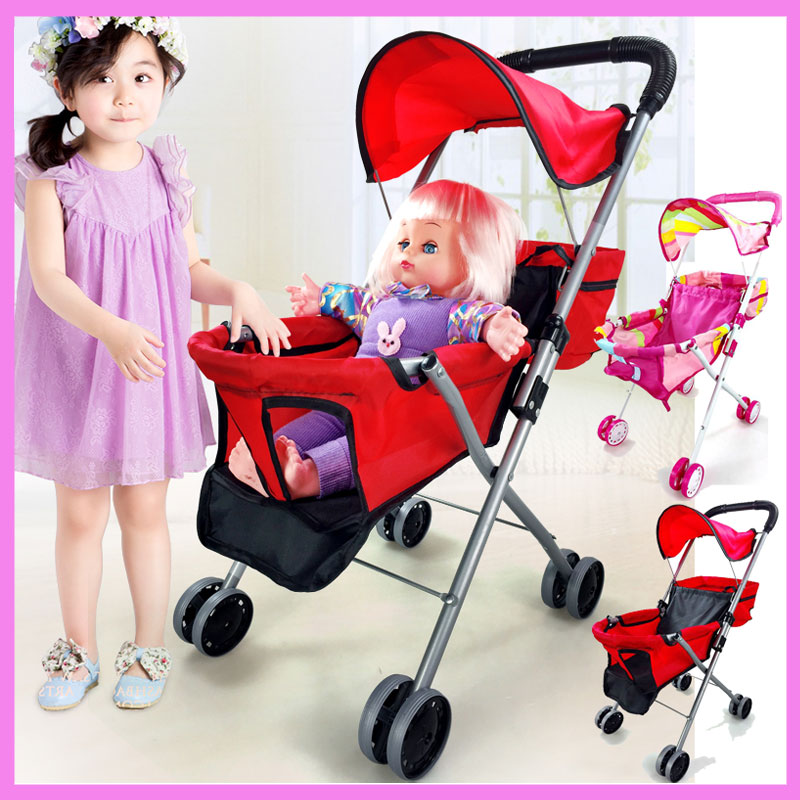 Baby Toys Stroller for Girls Pretend Play Stroller Pushchair Toys Walker Cart Children Stroller for Dolls Umbrella Pram 2~4 Y avoid the ultraviolet radiation with the canopy pushchair baby build a safe soft environment for babies boys and girls pushchair