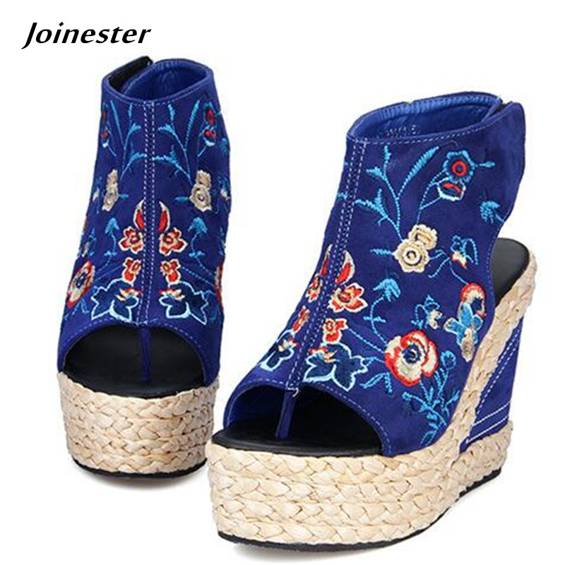 Women's Peep Toe Hook-Loop Vintage Floral Embroider Ankle Strap Sandals Summer Shoes Straw Knot Platform Wedges Flip Flops floral patch detail peep toe sliders