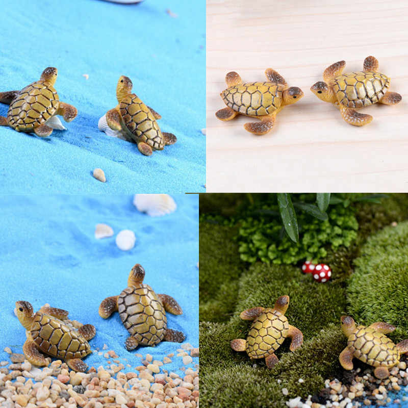 Hot Sale Baru untuk Dekorasi Boneka Bonsai Patung Hadiah Sea Turtle Model 1 PC/2 Pcs Miniatures Peri dekorasi Taman