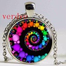 Спиральная подвеска, фрактальные ожерелья, подвески, расцвет, завитки, стеклянный купол, ожерелье, Священная Геометрическая художественная картина, ювелирное изделие