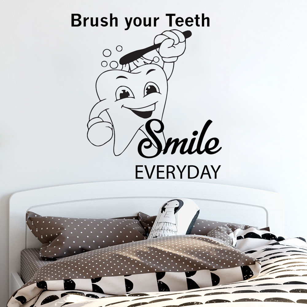 Teeth Quote Wall Decal Heath Care Wall Sticker Bathroom Decor Dentist Smile Vinyl Wall Mural Teeth Quote Decals AY1199(China)