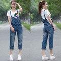 O Envio gratuito de Moda Senhoras Macacão Calças Capris Para As Mulheres de Alta Qualidade Denim Jeans Solto 2XL Verão Macacões Capri Para As Mulheres