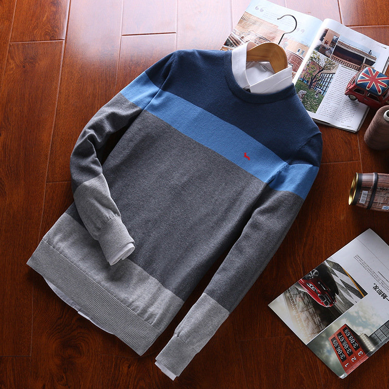 Men Spring Men Casual 100%cotton Knitted Sweater O-neck Harmont Patchwork Pullovers Blaine Embroidery Striped Knitted Sweater