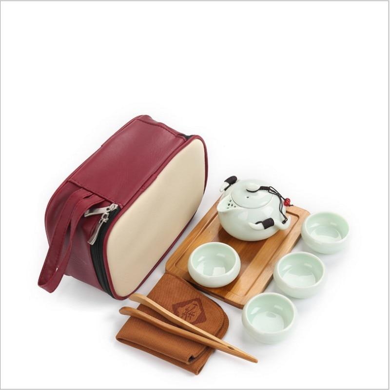 9 PC Tea Set Chinese Travel Ceramic Portable Teacup Towel Purple Sand Teapot Tea Tray Kung Fu Tea Set Mug of Tea Ceremony Teapot