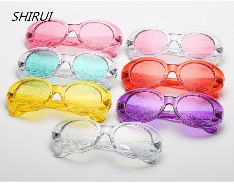 702162bb2b Oversized Goggles Sunglasses Women Retro Clear Candy Color Oval Round Sun  Glasses Men NIRVANA Kurt Cobain glasses okulary  SR025