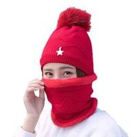 Balaclava Knit Winter Hat Scarf Women Face Mask Neck Warmer Fleece Warm Caps Pom Pom Hats
