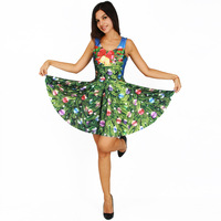 New Women Christmas Dress Festive Bells Trees Flower 3D Printed Sexy Party Dresses Sleeveless Tank Pleated Dress vestidos