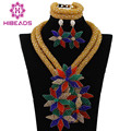 Multicolor Flower Pendant Statement Necklace Set Luxury African Fashion Jewelry Set Floral Necklace Earrings Free Shipping WA234