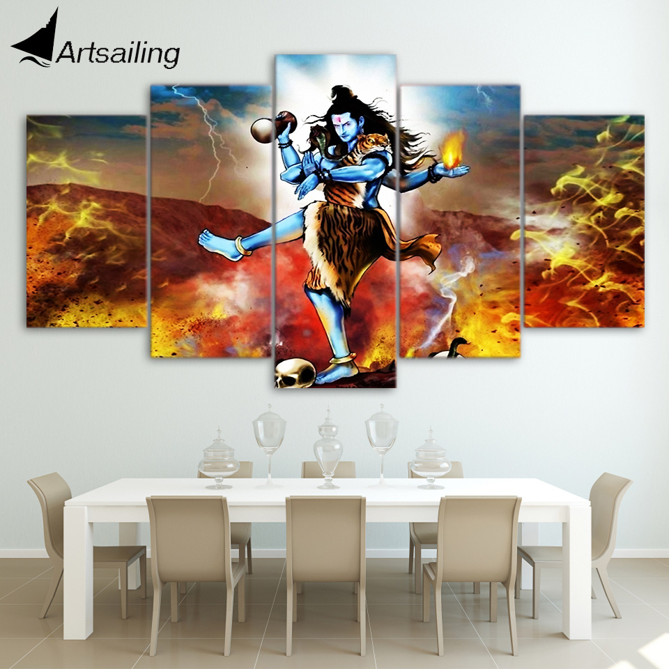 Trusted Home Painting Services In India: HD Printed 5 Piece Canvas Art Indian Mythology Painting