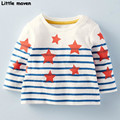 Little maven children brand clothing 2017 spring fashion girls cotton long sleeve O-neck striped star print t shirt CT041