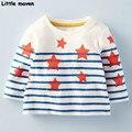 Little maven crianças roupas de marca 2017 moda primavera meninas algodão manga comprida o pescoço listrado camiseta estrela impressão ct041