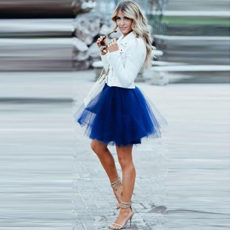 Preppy Style 2017 Mini Short Tulle Skirts For Pretty Lady Royal Blue Dark Green Burgundy Tutu Skirt For Women Color
