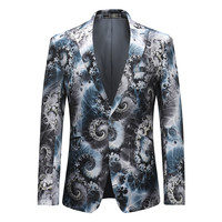 YFFUSHI 2018 Latest Design Men Suit Jacket Sea Wave Print Fashion Blazer Party Dress Stage Perform