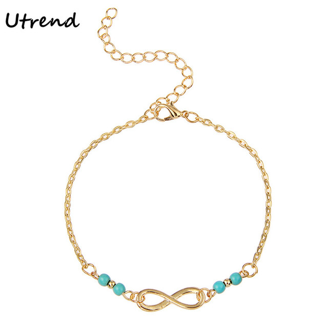 Utrend Foot Chain Bohemia Anklets for Women Infinity Anklet with Blue Beads Foot  Jewelry Accessories Sexy Barefoot Anklet c42281f8615b