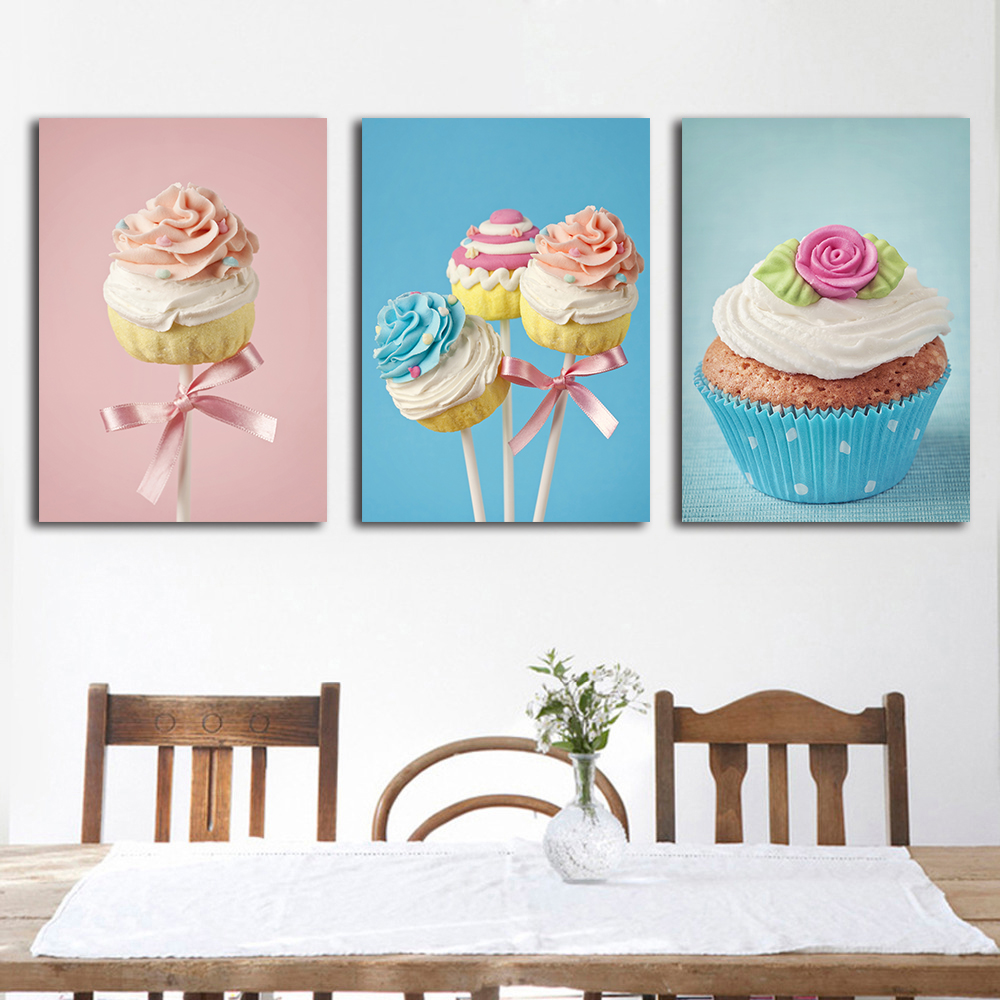 clstrose sweets cake wall art decor home painting on canvas colorful cake children kids room. Black Bedroom Furniture Sets. Home Design Ideas
