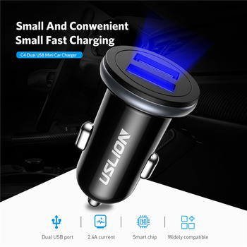 USLION 2.4A LED Display Dual USB Car Charger For iPhone XS For Samsung Quick Charging Smart USB Car Phone Charger Adapter in Car
