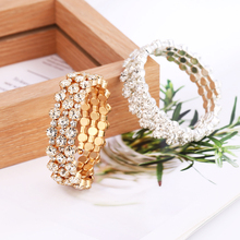 New Best Selling Explosion Cystal Gold Silver Long Bangle For Women Open Elegant Bracelets Clothing Accessories Female Gifts