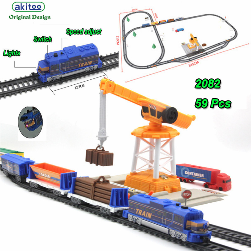akitoo 1022 Electric light rail car full length 670cm simulation train puzzle series electric rail crane