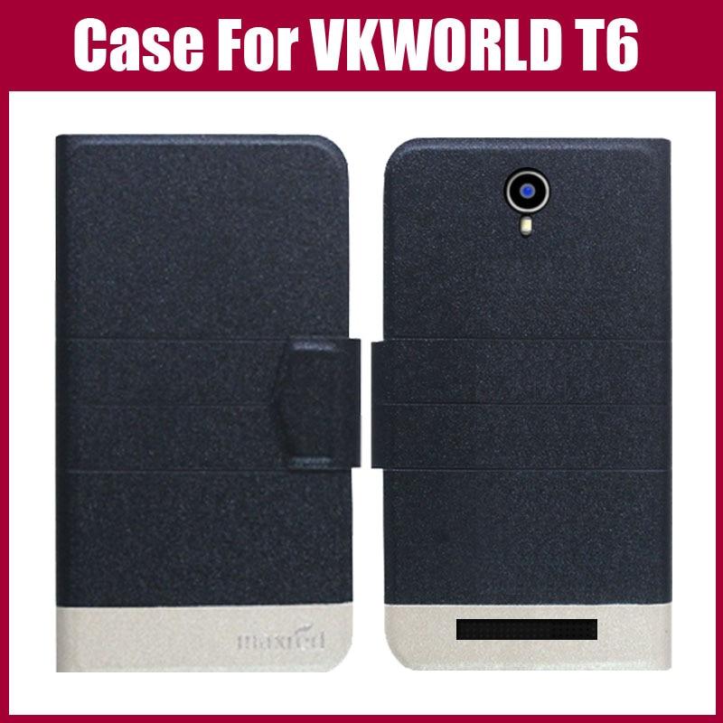Žhavá sleva! Pouzdro VKWORLD T6 Nový příchod 5 barev Vysoce kvalitní Flip Ultratenký telefon Kožený ochranný obal pro Pouzdro VKWORLD T6