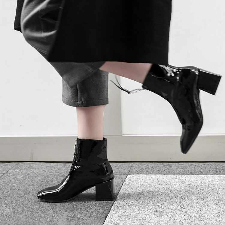 13b0e5d904c53 ... 2019 Black Shiny Leather Soft Ankle Boots Front Zipper Square Toe Block  Heel Trendy Celebrity Shoes ...