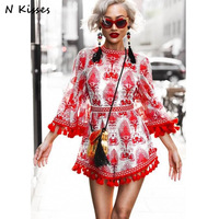 2017 Fashion Beach Style Boho Red And White Porcelain Print Tassel Embroidery Loose Playsuits Alice M