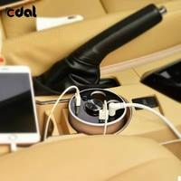 EDAL Carregador de Carro Suporte de Copo com fone de Ouvido Bluetooth 12 V/24 V de Multi função Car Power Adapter com 2 Portas para o iphone Android S