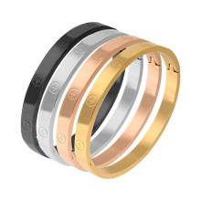 Trendy Stainless Steel Luxury Brand Bangle Bracelet Woman Man Rose Gold Color Wristband Bangles Gift Bracelets Femme(China)