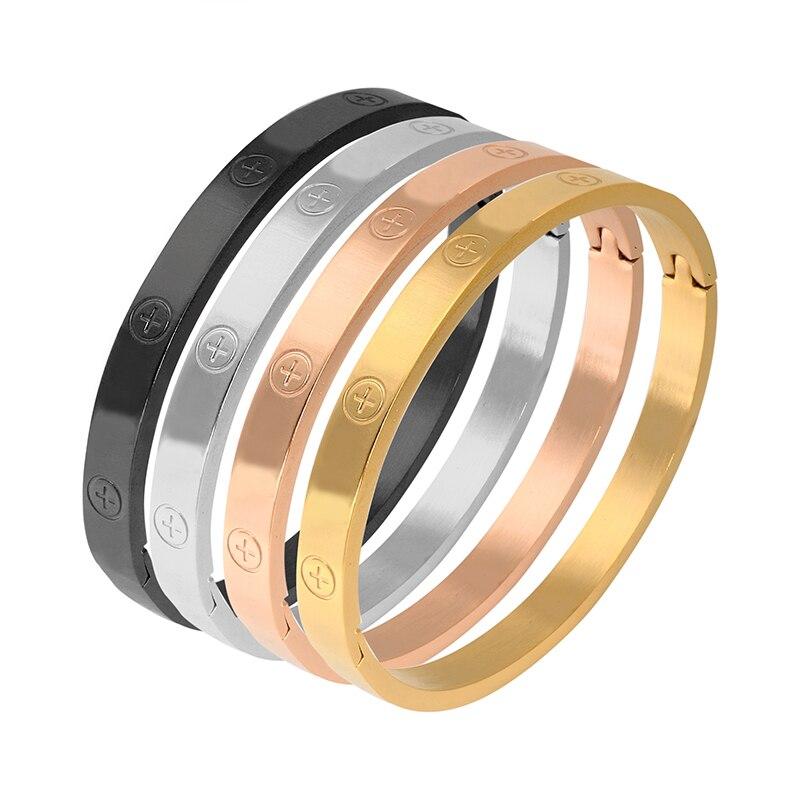 Trendy Stainless Steel Luxury Brand Bangle Bracelet Woman Man Rose Gold Color Wristband Bangles Gift Bracelets Femme