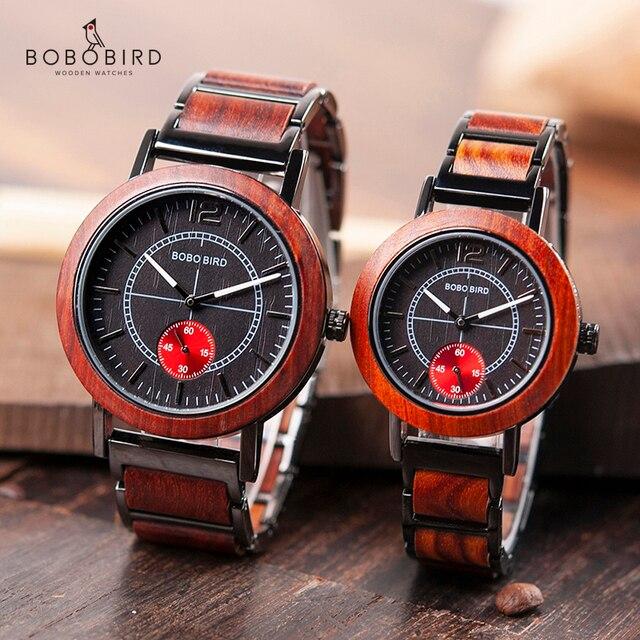 Bobo pássaro amantes de madeira relógios definir marca superior luxo à moda relógio masculino grandes presentes relogio masculino