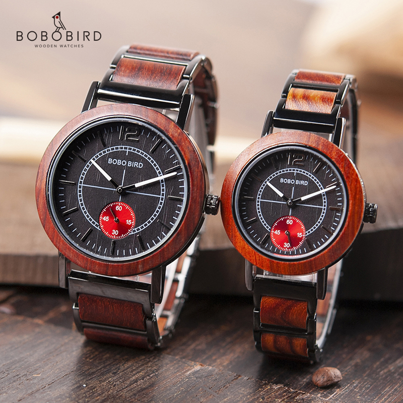 BOBO BIRD Wooden Lovers' Watches Set Top Brand Luxury Stylish Women Watch Men Great Gifts Relogio Masculino