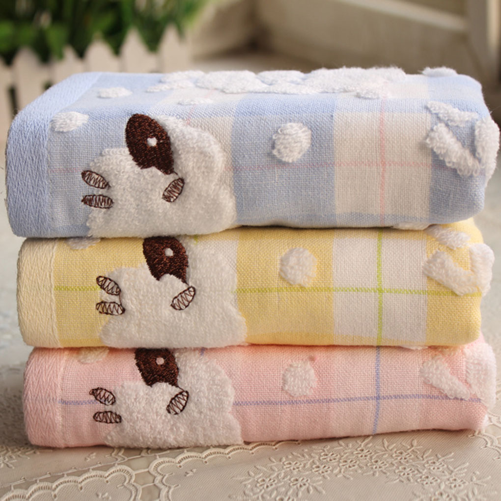 New Arrival Double Layers Cotton Cartoon Sheep Face Towel Sweat Absorbent For Sports Children Adult