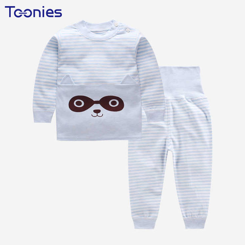 Cartoon Children Pants Suits New High Waist Toddler Suit Striped Print Winter Casual Active Kids Clothing Sets Unisex Sportswear