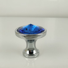 10pcs 30mm blue diamond shape crystal glass cabinet knob cupboard drawer pull handle silver base