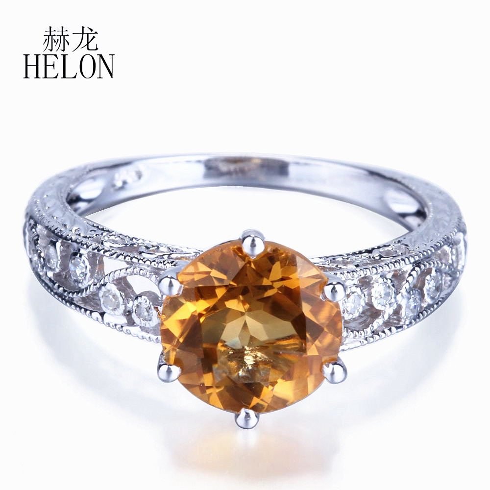 Helon art nouveau vintage 7 5mm round citrine pave diamond engagement wedding women s jewelry ring setting