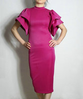custom 2016 spring Sunmer long dress women sexy Slim Pencil Dress Women's Brand Butterfly Sleeve purple Pink Dress plus size